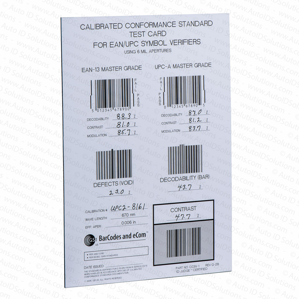 Bar Code Tester : Gs calibrated conformance standard test card upc ean and