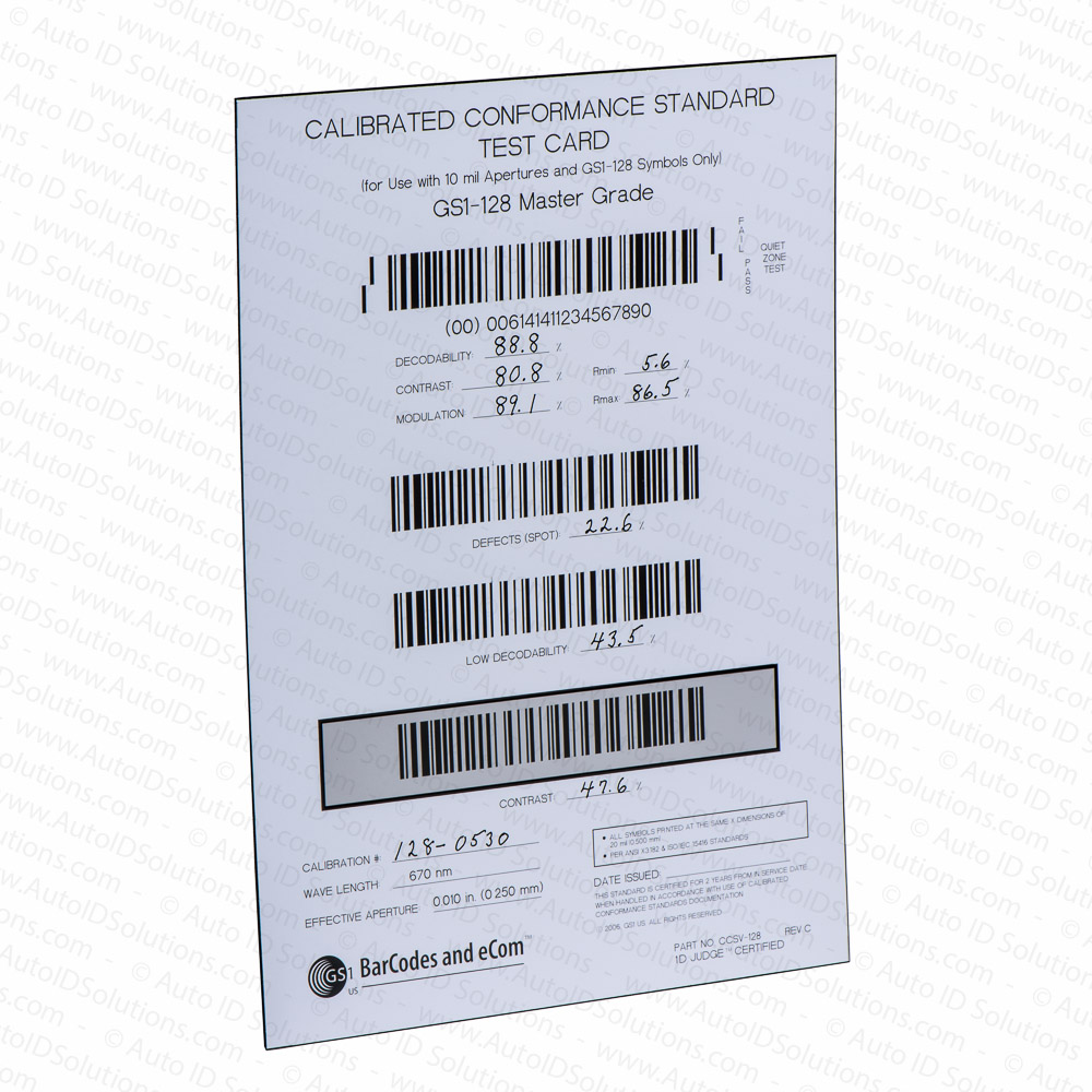 Bar Code Tester : Gs calibrated conformance standard test card for