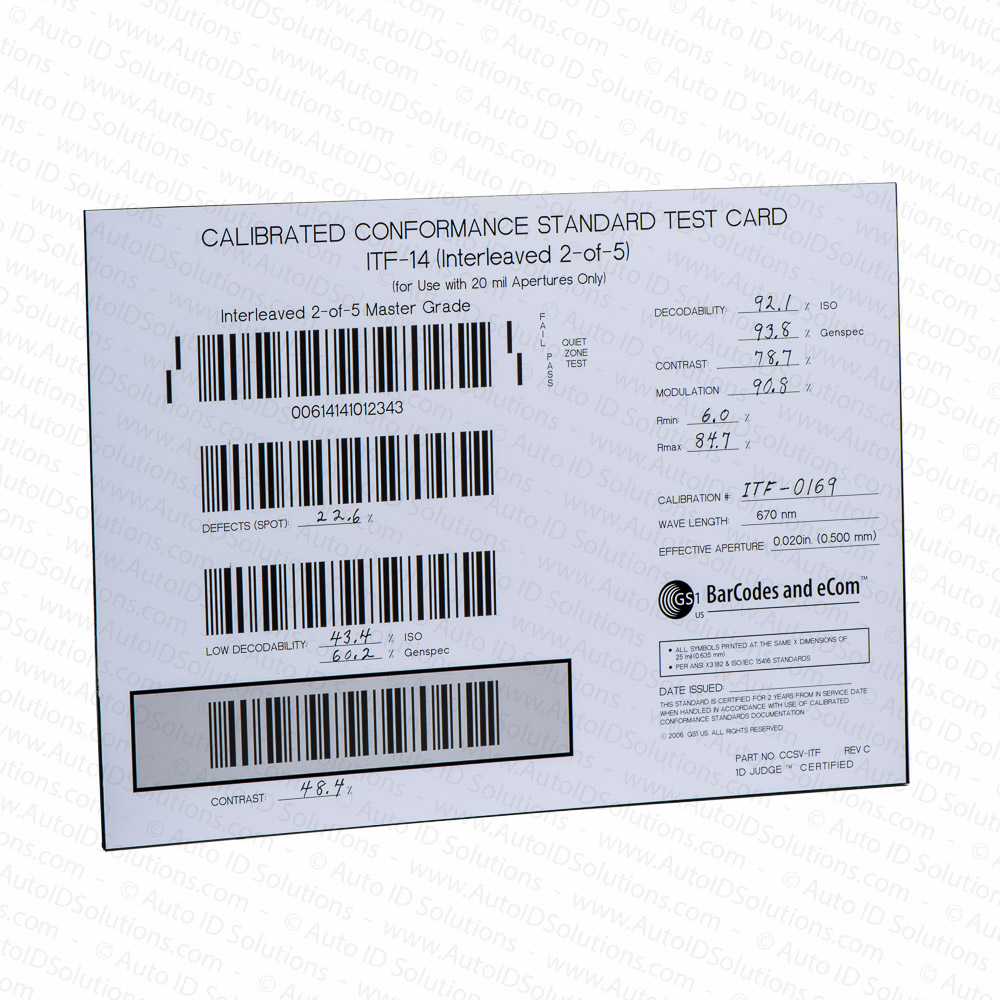 Bar Code Tester : Gs calibrated conformance standard test card for itf